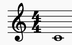 C4 on the treble clef.