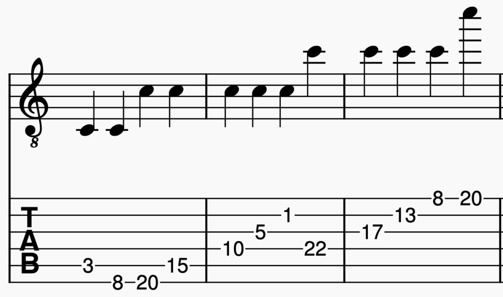 A guitar tablature showing all the possible C notes that can be played on guitar.