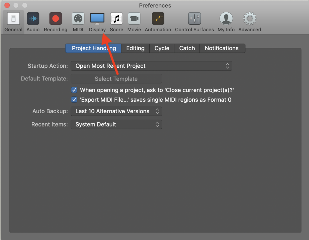 How to change middle C to C4 on Logic Pro, Step 1