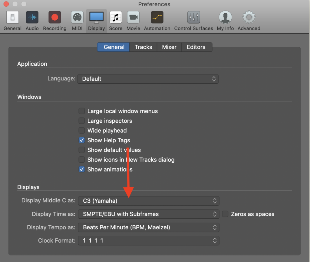 How to change middle C to C4 on Logic Pro, Step 2