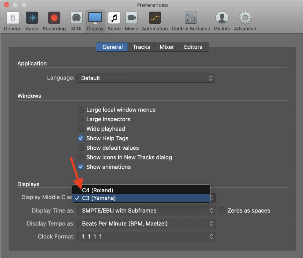 How to change middle C to C4 on Logic Pro, Step 3