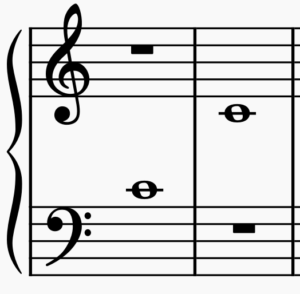 Middle C on bass clef and treble clef