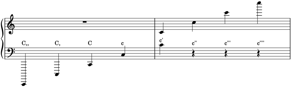 Score showing the notes C and how they are written using Helmholtz Notation