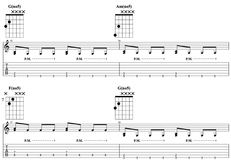 Electric guitar riff using third double stops.