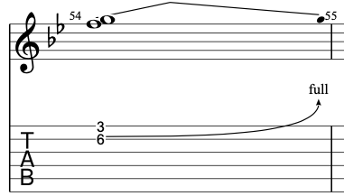 A double stop string bend on electric guitar.