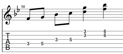 A lick using double stops in the G minor pentatonic scale.