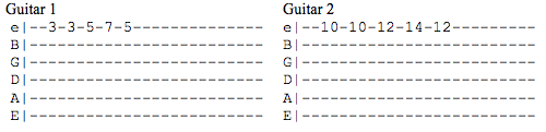 The original melody and the melody harmonised a fifth higher, written out on guitar.