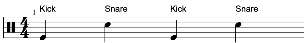 Drum notation showing how the kick and snare are notated.