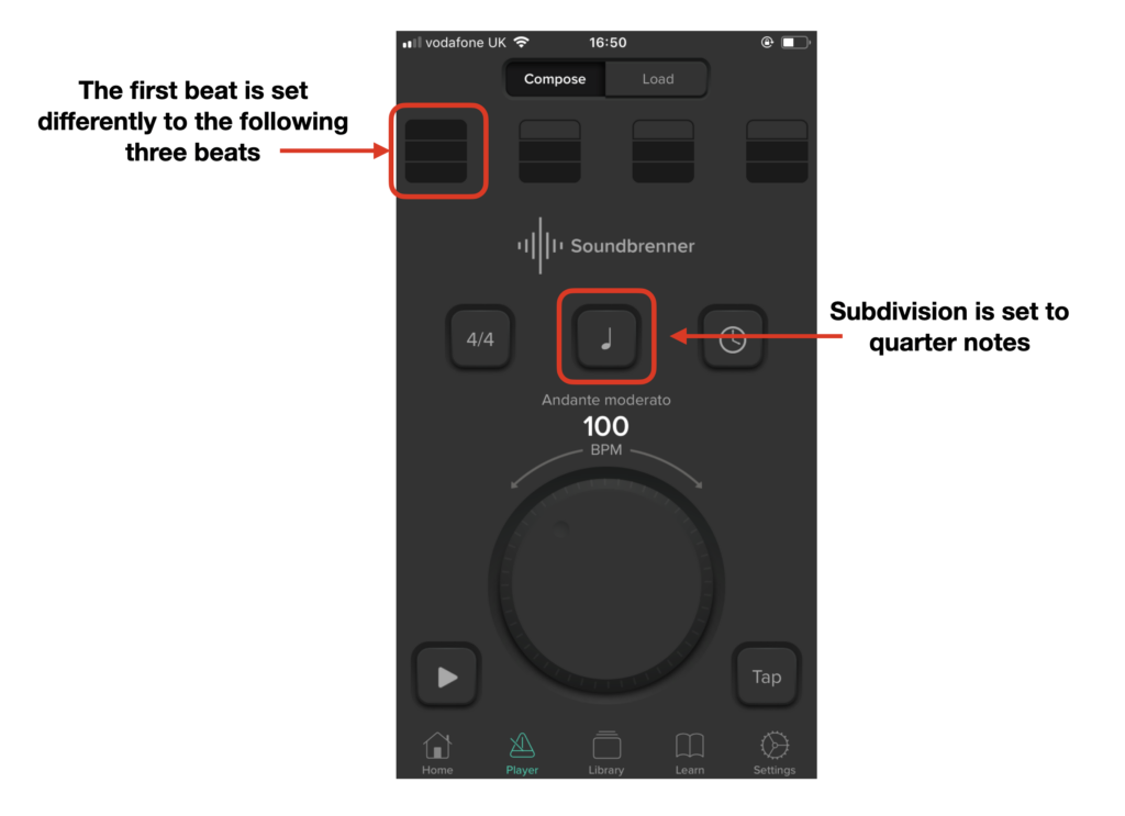 This image shows how to change the subdivision and beats on Soundbrenner.